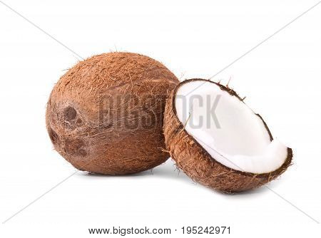 Brown hawaiian coconuts isolated  on a white background. Tasteful white coconut cracked in half and a whole delicious coco. Healthy summer ingredients.