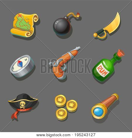Pirate icons set. Set of corsair items. Different weapon, compass, coin, gun, sword, and treasure map. For computers or mobile game interface and web graphic design