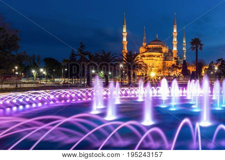 The Blue Mosque At Sultanahmet Square In The Evening, Istanbul, Turkey. Blue Mosque Is The Biggest M