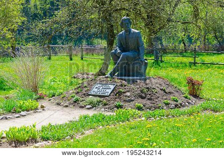 ZDRAVNEVO BELARUS - MAY 18 2017: Monument to I.Y. Repin on territory of museum-estate