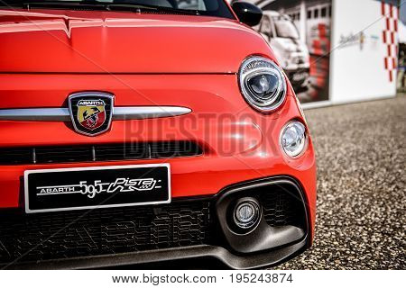 Vallelunga, Rome, Italy. June 24 2017. Red Fiat Abarth 595 Front Detail