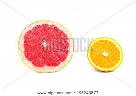 Juicy, fresh and ripe half of bright red grapefruit and sour yellow lemon, isolated on a white background, close-up. Citrus fruits. Tropical, organic, fresh and juicy slice of grapefruit and lemon.