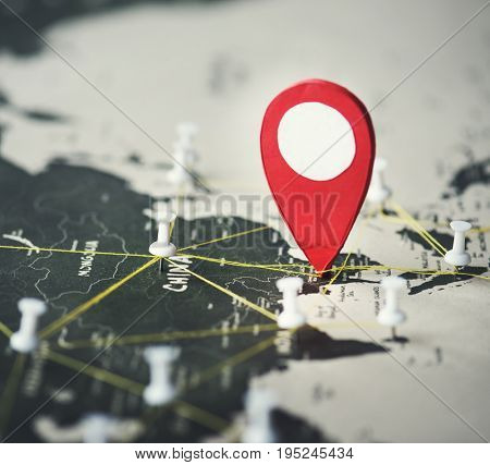 Currency location and pushpin on a map