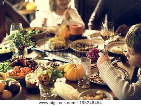 Children Eating Turkey Thanksgiving Celebration Concept