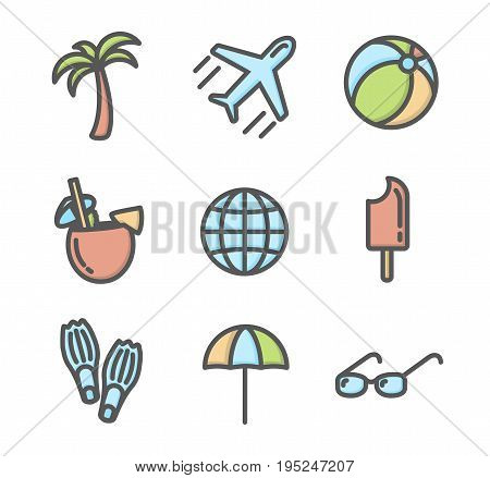 Summer vacation colored icons set 02. Airplane, umbrella, sunglasses, pina colada cocktail, flippers and other linear symbols