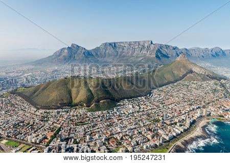 Cape Town South Africa (aerial shot from a helicopter) with focus on Sea Point