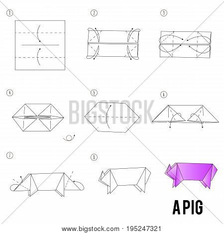 Step by step instructions how to make origami A pig