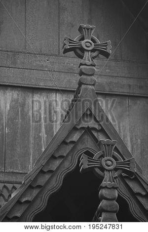 Norwegian restored stave church detail. Fantoft. Bergen. Norway heritage. Tourism