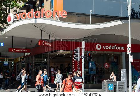 Melbourne, Australia - February 23, 2017: Vodafone is Australia's third largest telecommunication company. This Vodafone shop is in central Melbourne.