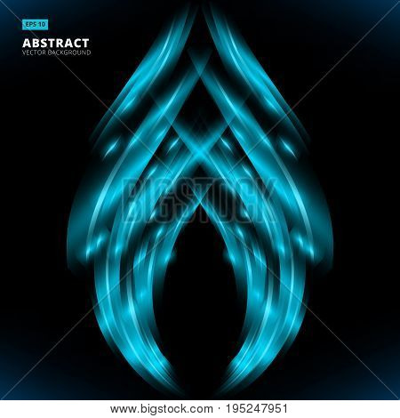 abstract blue lines design on dark background. Composition has very bright highlights Vector Illustration