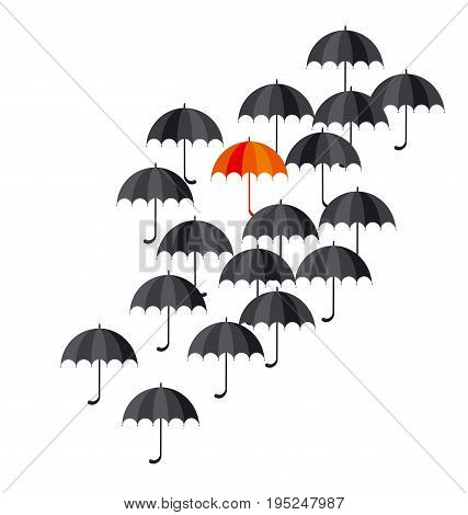 black classic umbrella icon. fall concept outstanding in the crowd. one orange umbrella among black. flat simple vector illustration.