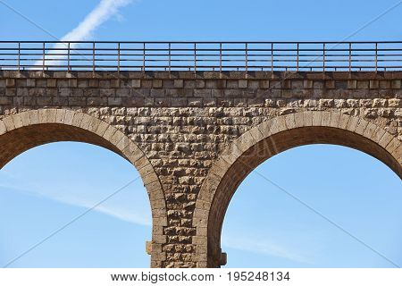 Stone viaduct detail. Albentosa Teruel. Spain. Green way. Architecture