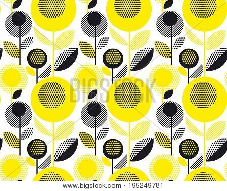 black and yellow textured 60s floral retro pattern. geometry decorative style vintage flower seamless motif. vector illustration
