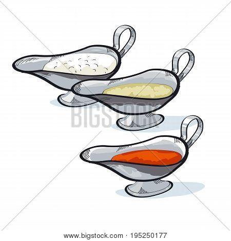 sauce in a gravy boat to choose. seasoning sketch vector illustration.