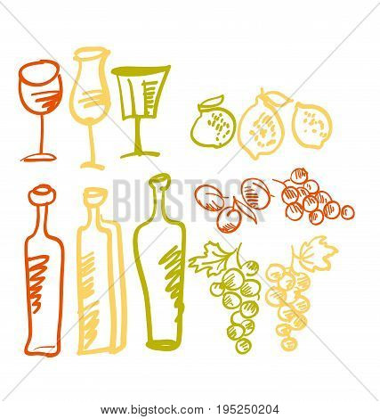 vector design of italian food icon set. hand drawn liqueur and wine meal ingredient illustration. limoncello and wine alcohol icons