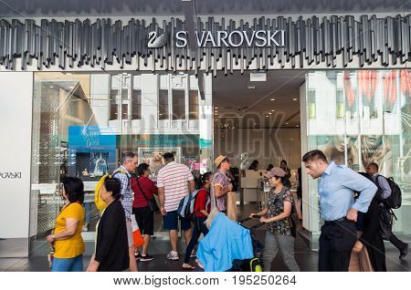 Melbourne, Australia - February 23, 2017: Swarovski is an Austrian business specialising in crystal products. This store is on Bourke Street in Melbourne.