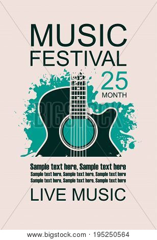 Vector banner with acoustic guitar on grunge green background lettering festival live music and place for text in retro style