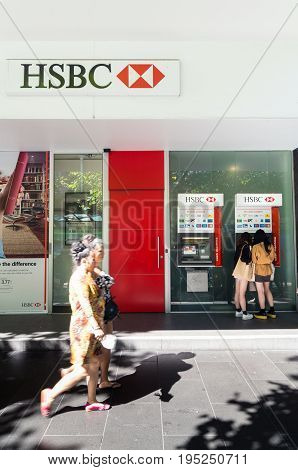 Melbourne, Australia - February 23, 2017: HSBC is a British bank with origins in Hong Kong and Shanghai. This branch is on Swanston Street in central Melbourne.