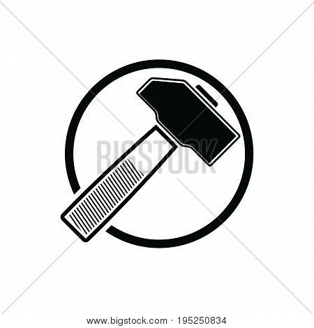 Detailed vector illustration of hammer work tool. Industry utensil symbol mallet placed in a circle for use in advertising and web design.