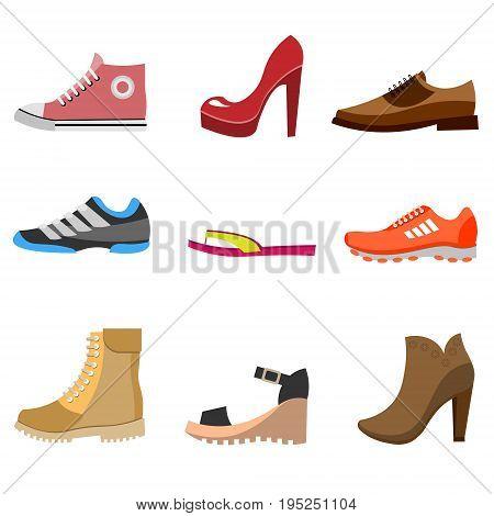 Different fashion shoe boots models for shop site. Vector illustration