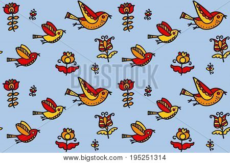 folk style birds childish hand drawn image. sketch vector illustration