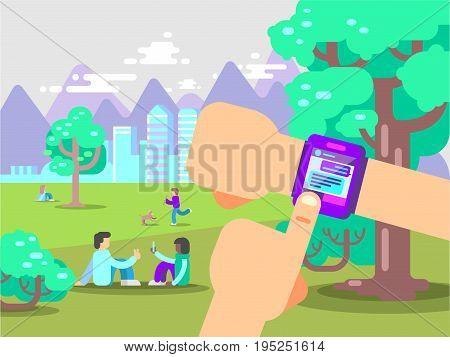 Human Hands Use Smart Watch With Messenger App