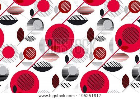 red and black 60s floral retro pattern. geometry decorative style vintage flower seamless motif. vector illustration