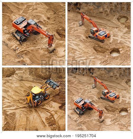 Set of excavators at sandpit during earthmoving works. Construction of concrete foundation of new building