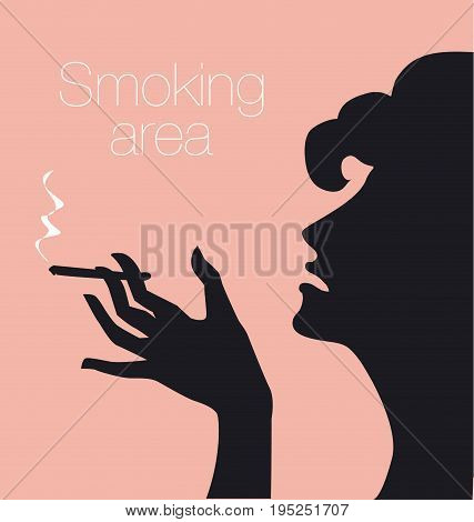 hand with cigarette, smoking area sign, vector silhouette illustration with woman profile