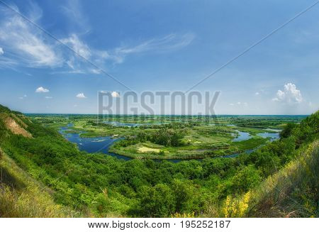 Summer Colorful View On Delta Of The River Vorskla From The Mountain.