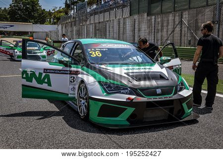 Vallelunga, Rome, Italy. June 24 2017. Seat Leon Cupra Cup Racing Car On Circuit Starting Grid