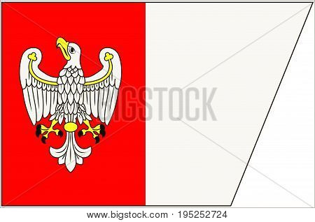 Flag of Greater Poland Voivodeship or Wielkopolska Province in west-central Poland. Vector illustration