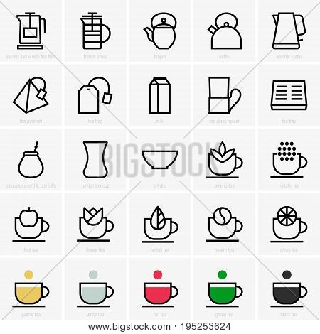 Set of twenty five tea  and tea equipment icons
