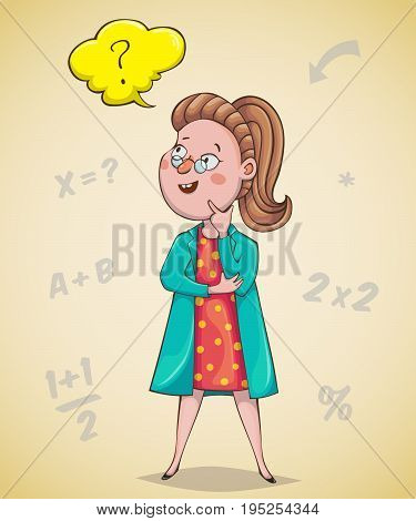 Girl scientist is thinking. Cartoon character. Vector illustration