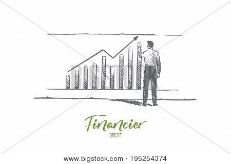 Financier concept. Hand drawn businessman builds graphics. Male finane analyst isolated vector illustration.