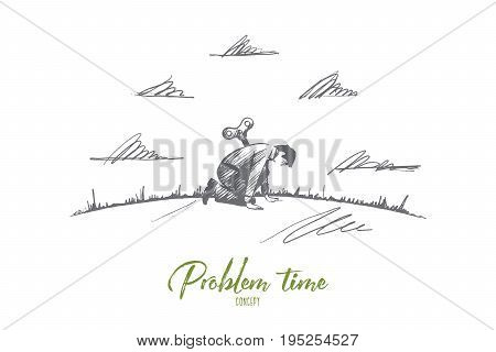 Problem time concept. Hand drawn sad man in trouble. Person tired isolated vector illustration.
