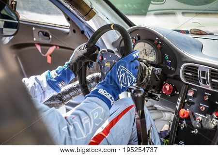 Vallelunga, Rome, Italy. June 24 2017. Bmw Racing Car Cockpit, Dashboard And Driver Seat