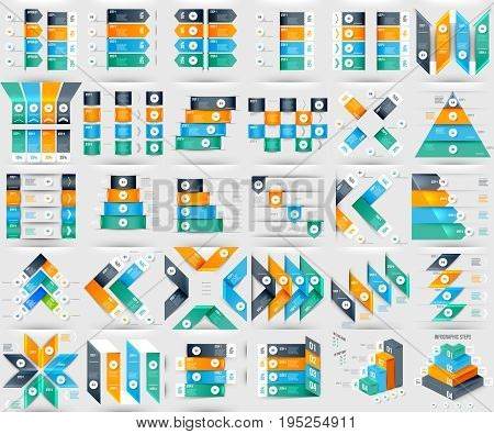 Modern Infographics Element Number Template with Steps Arrows and Pyramids. Vector illustration. Can Be Used for Workflow Layout Diagram Business Step Options Banner Web Design