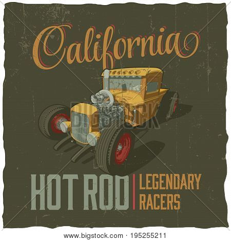 California Legendary racers poster with design for t-shirt vector illustration