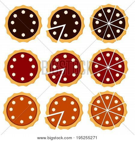 Homemade pie. Flat vector illustration isolated on white background. Sliced pie with cream. Top view. Could be used as icon or design element. Easy to scale and recolor. Eps10