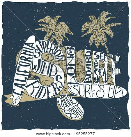 California surfing poster with two palms and three surfing boards vector illustration