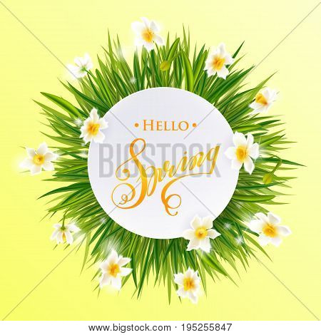 Advertisement about the spring sale on background with beautiful white flowers, Lettering, calligraphy. Round frame for text flower, delicate wreath. A seasonal discount. illustration