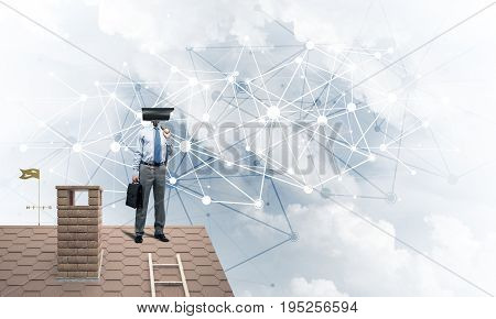 Faceless businessman with camera zoom instead of head standing on house roof