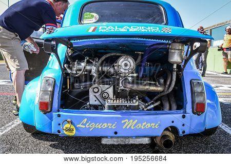 Vallelunga, Rome, Italy. June 24 2017. Italian Bicilindriche Cup, Fiat 500 Racing Car Engine Detail