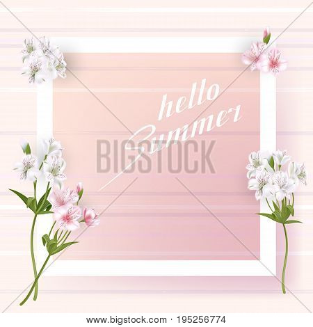 Beautiful square frame with flowers. Can be used as invitation card for wedding, birthday, Mothers Day and other holiday and summer background. Vector illustration EPS10