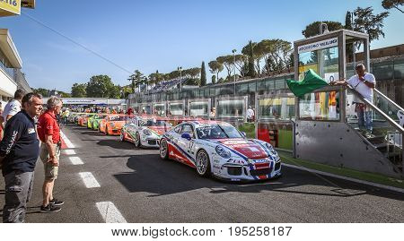 Vallelunga, Rome, Italy. June 24 2017. Italian Porsche Carrera Cup Cars In Pit Lane