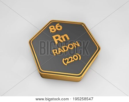 Radon - Rn - chemical element periodic table hexagonal shape 3d render