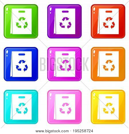 Package recycling icons of 9 color set isolated vector illustration