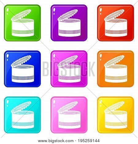 Open tin can icons of 9 color set isolated vector illustration