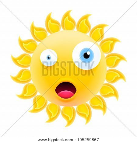 Embarrassed Sun Emoticon With Open Mouth